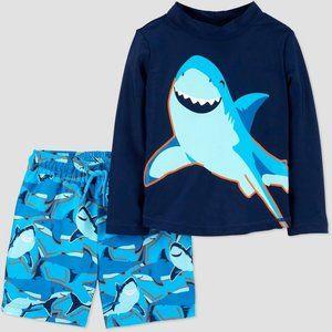 Baby Boys' Shark Swim Rash Guard Swim Trunk Set
